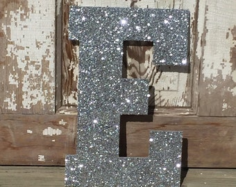 "Decorative 13"" Silver Glitter Wall Letters, Girls Bedroom Decor, Home Decor, Wedding Decor, Baby's Nursery Wall Decor"