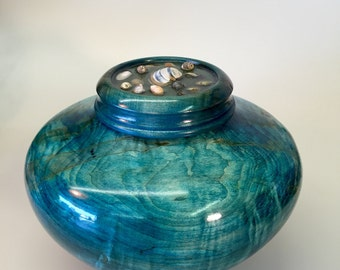 Ocean blue Curly maple and seashell urn