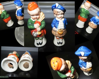 Vintage Scottish Boys in Kilts with Bagpipe and Girl in Beret Ceramic Salt Pepper Shakers Japan Vintage