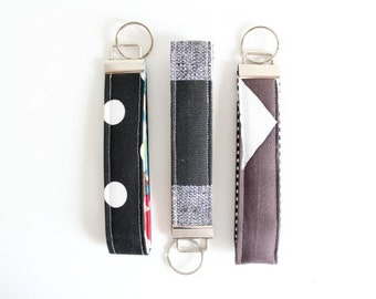 Set of Three Key Fobs Polka Dot Key Fob Wristlet Plaid Key Fob Wristlet. Gift for Her Triangle Key Chain Key Fob