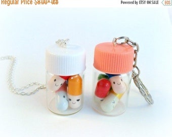 ON SALE Happy Pills Bottle, Necklace or Keychain, Message In A Bottle, Message Pills, Screw Cap, Cute And Kawaii :D