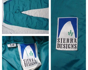 Vintage Retro Men's Sierra Designs Pants Green Neon Blue Windbreaker Small with Stuff Sack