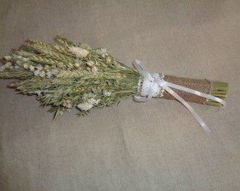 Bridal dried flower bouquet rustic country wedding natural wheat and white flower wedding bouquets with little sparkle