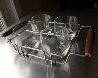 Retro Rolly Polly Glasses with Teak Holder