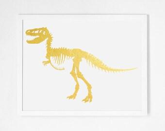 Real Gold Foil Trex Print Gold Leaf Tyrannosaurus Rex Print Gold Dinosaur Artwork Modern Nursery Art Minimalist Minimal Bones Skeleton Art