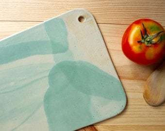 Serving board Rectangular ceramic board with hole Stoneware Aquamarine mat glaze - Ready to ship