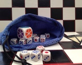 Dice Bag in Blue Snakeskin Effect Velour Fabric, for storing Games Counters, Chess Pieces, Dice, Counters, Fantasy Geek Bag