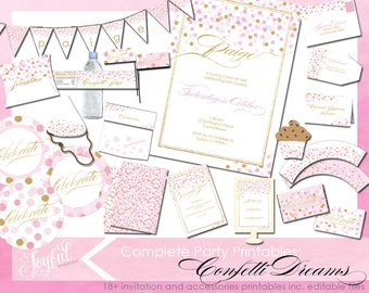 Confetti Birthday Party Invitations and Printables