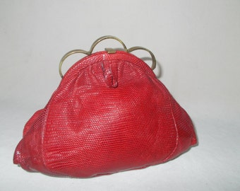 Rare 1930's lizard raspberry red clutch bag made by Rapels