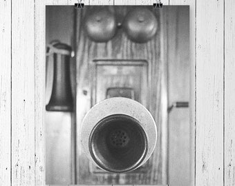 Antique Telephone Black and White Still Life Fine Art Photography Retro Wall Art Hipster Room Decor Entryway Decor Kitchen Wall Decor