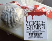 Zombie Brain Soap, Walking Dead Party Favors Gray Bubblegum, Apple Cinnamon or Fresh Bamboo, Kids Gift