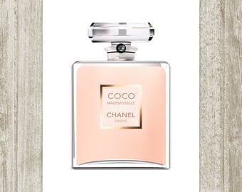 Coco Chanel Perfume Printable, Fashion Print Vanity Wall Art, Perfume Print, French Perfume Peach Bathroom Decor 8x10 11x14 Instant Download