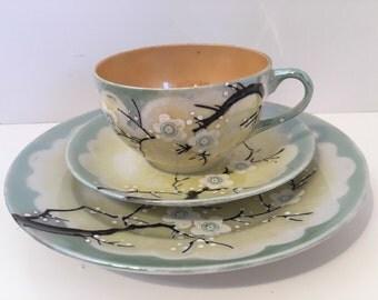 Lusterware Japan Dogwood 3pc Set Cup Saucer & Dessert Plate Vintage 1940s Collectable