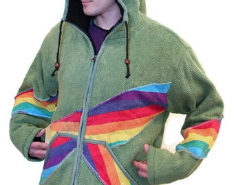 Men's Pixie Rainbow Jacket - Rainbow hoodie - Very Warm Jacket  - Burning man