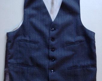 Vintage 1960's 1970's Gray Wool Pinstriped Herringbone Vest - 40 Reg