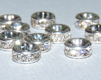 10 Clear Rhinestone 6mm Round Metal Spacer Beads
