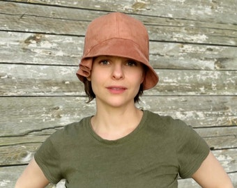Madeline - Salt Water Coral Pink 1920s Twenties Faux Suede Fabric Cloche Hat Cancer Downton Abbey Custom Size