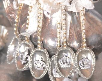 Crown ornament, Vintage spoon ornament, tarnished silver, Mediterranea Design Studio, Christmas ornament, vintage ornament, christmas  decor
