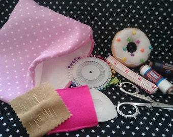 PREMADE Starter Sewing Kit Sweet Treats Donut Pincushion Zip Pouch