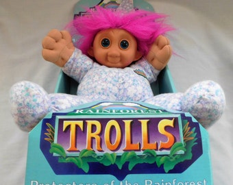Vintage 1992 RAINFOREST TROLL TROLLS Imagi toy brand new in package