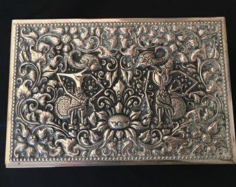 Vintage Rectangular 800 Silver Repousse Wood Lined Box