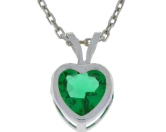 1 Ct Emerald Heart Bezel Pendant .925 Sterling Silver