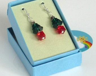 Swarovski Crystal Christmas Tree Earrings - Red