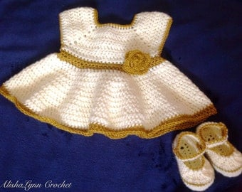 Custom Crochet Baby Dress with Mary Jane Slippers