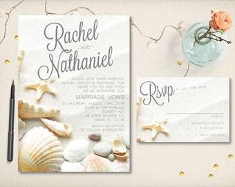 seashell invitations | etsy, Wedding invitations