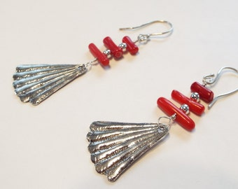 Red Coral and Fine Silver Earrings
