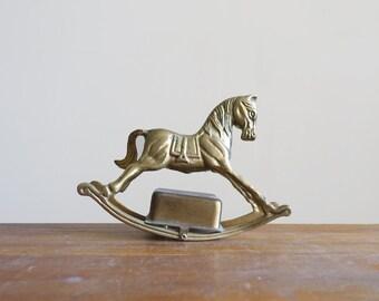 Vintage Brass Rocking Horse Figurine Music Box