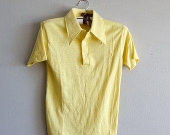 Vintage Size 14 Boys Yellow Collared Polo Shirt with Arrows
