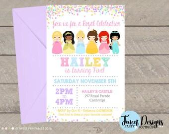 PRINCESS INVITATION, Princess Party, Printable Princess invitation, Princess Birthday, Princess Printable, Princess Tiana, Costume Girl
