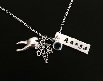Dental Hygienist necklace, Hand stamped DH necklace, personalized DH necklace, graduation gift, Dental Hygienist graduation, DH necklace