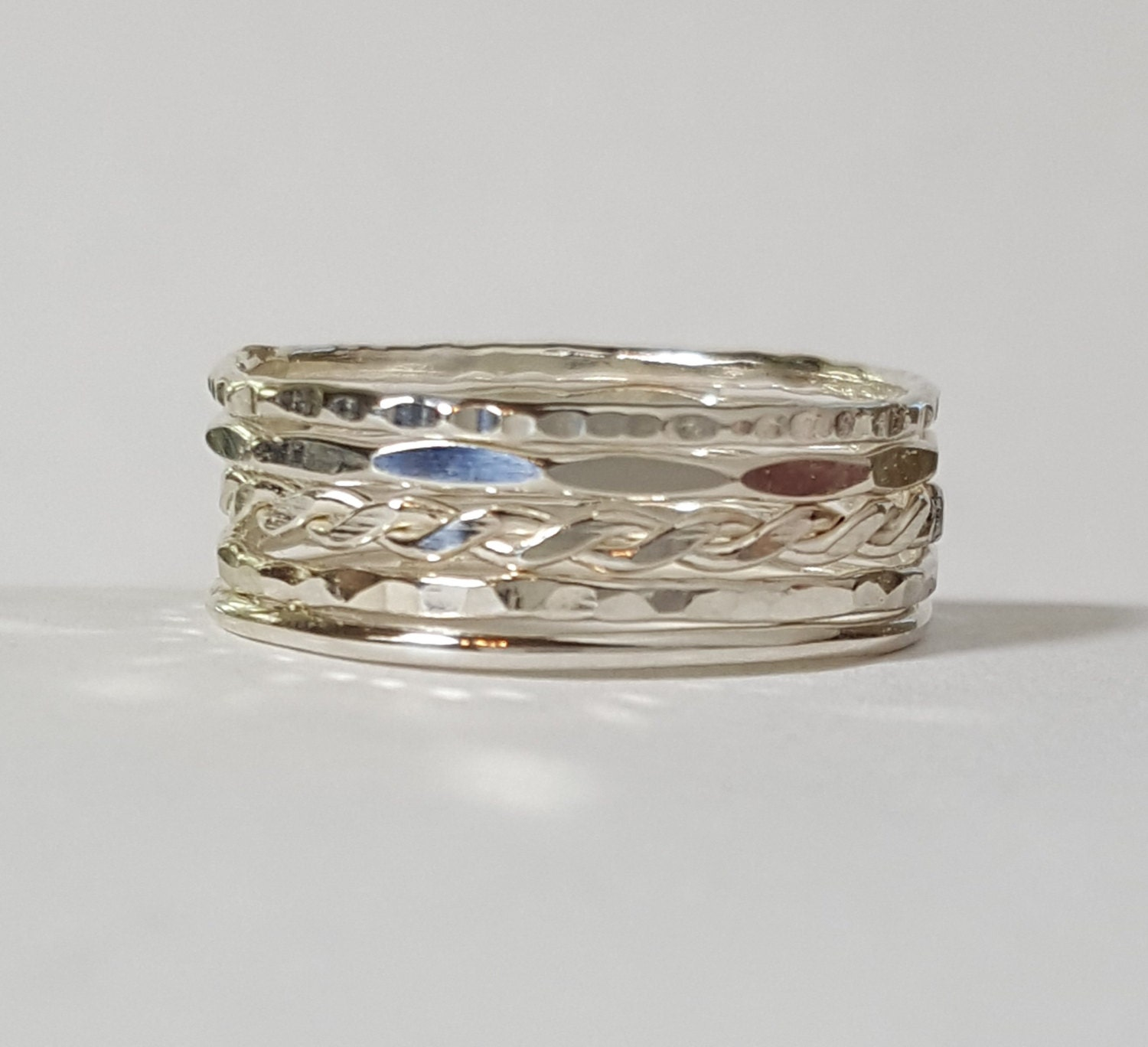 thin stacker rings sterling silver set of 5