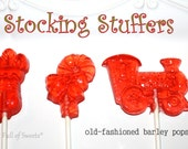 Stocking Stuffers, BARLEY Lollipops, Christmas Party Favors, 10 Barley Sugar Pops, Christmas Gift, Clear Toy Candy, Ready to Ship