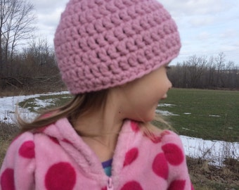 Crochet Chunky Toddler Hat, 3-5 years, Light Pink