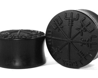 Viking Compass Handmade Wooden Ear Plugs/Gauges 8mm-40mm size