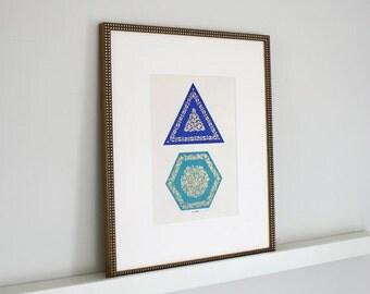 Framed Vintage Blue Turkish Tile Print c. 1940s 16 x 20 inch frame