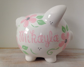 Personalized Hand Painted Piggy Bank With Princess Theme