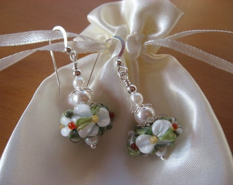 20% OFF SALE, Lampwork Earrings, Flower Earrings, Christmas Earrings, Floral Earrings, Handmade Lampwork Beads, Lampwork and Pearl Earrings