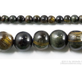 "Blue Tigers Eye Beads 4mm Round - Tigereye - Blue Tiger Eye Gemstone Beads 4mm-Sold per 14"" Strand of Apx 100 Beads - Ships from USA B017"