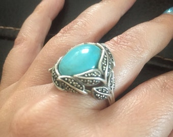 Vintage Sterling Silver Turquoise & Marcasite Ring Size 8.25 Just Lovely