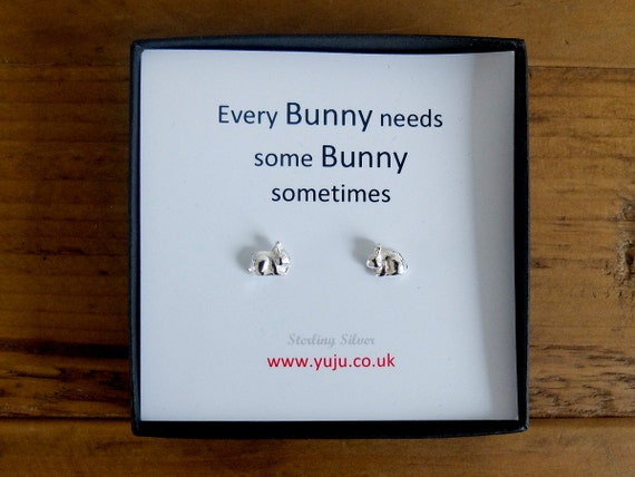 Silver Bunny Stud Earrings with Quote, Silver Rabbit Stud Earrings, Personalised Quote Gift,  Every Bunny Loves Some Bunny Sometimes