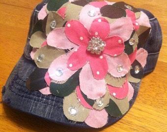 Pink Camo Frayed Flower Cadet Hat