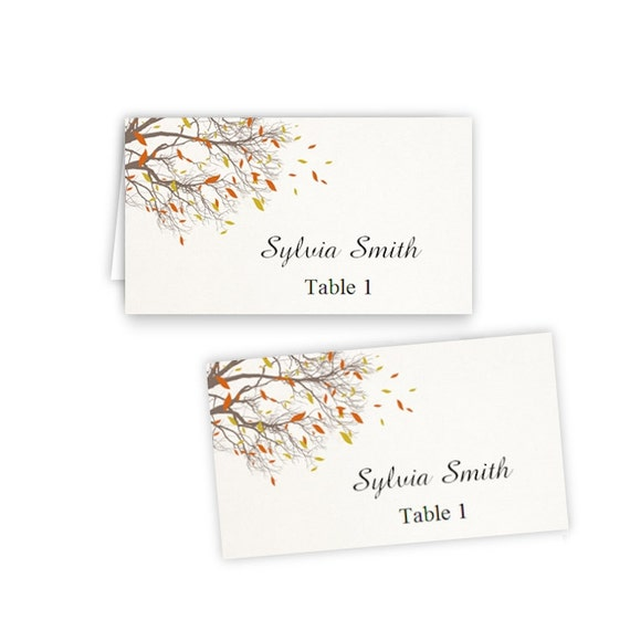 Fall branches folded table tent flat place card templates for Tent place card template