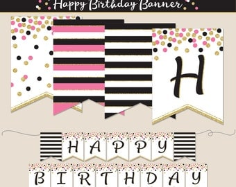 Birthday Banner, PRINTABLE, Happy Birthday, Pink, Black and Gold Glitter, Party Decoration