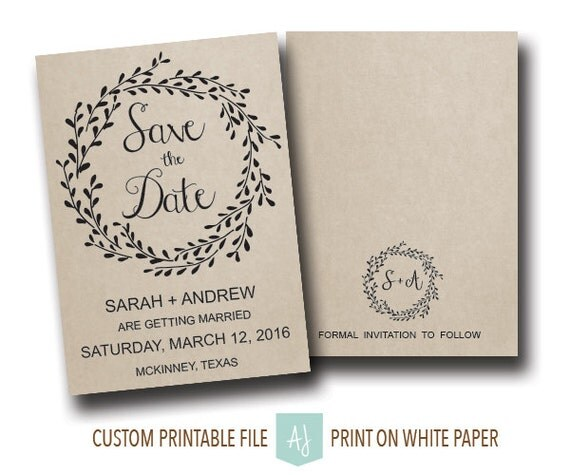 Matching Save The Date And Wedding Invitations: Rustic Wedding Save The Date Or Matching Invitation Printable