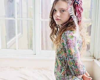 Girls Blouse/Top/Geometric/Muliticolor New Vintage Bow