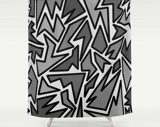 Black Zig Zag Shower Curtain - Abstract Shower Curtain - Black and Gray - Bathroom Decor  - Made to Order